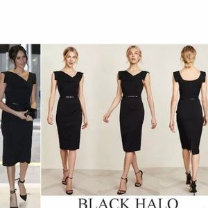 Black Halo Belted Classic Jackie O Midi Dress